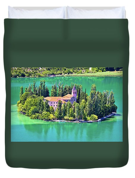 Island Of Visovac Monastery In Krka  Duvet Cover by Brch Photography