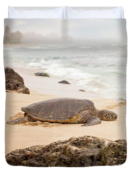 Duvet Cover featuring the photograph Island Rest by Heather Applegate