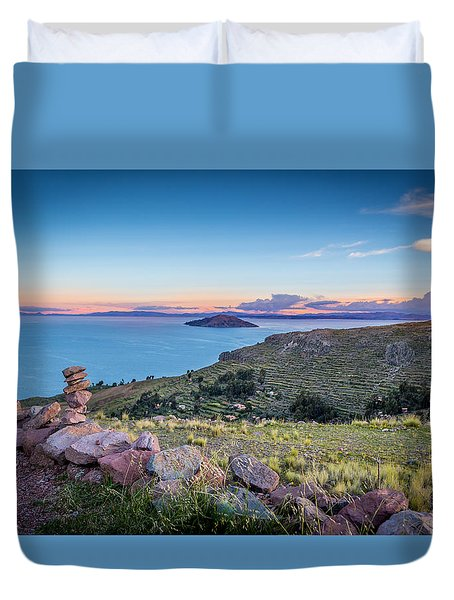 Duvet Cover featuring the photograph Island Sunset by Gary Gillette