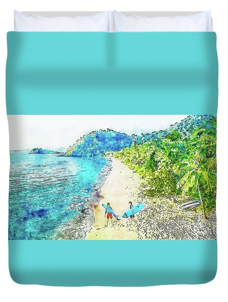 Island Surfers Duvet Cover