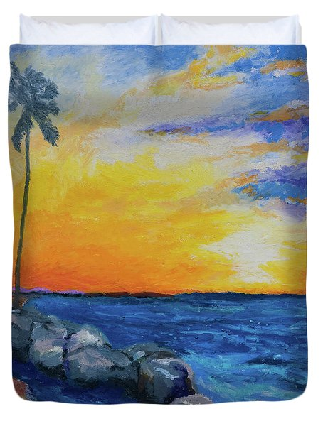 Duvet Cover featuring the painting Island Time by Stephen Anderson