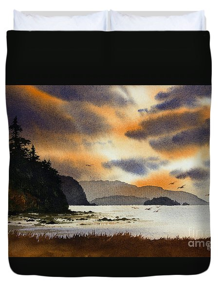 Duvet Cover featuring the painting Islands Autumn Sky by James Williamson