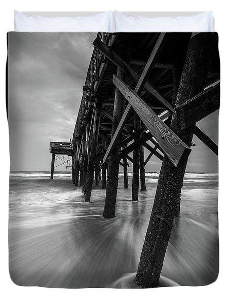 Isle Of Palms Pier Water In Motion Duvet Cover