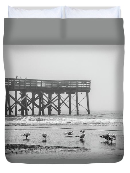 Isle Of Palms Pier And Fog Duvet Cover