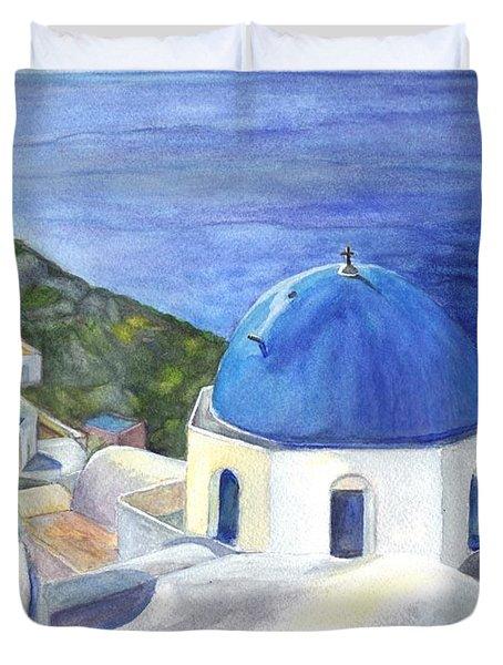 Isle Of Santorini Thiara  In Greece Duvet Cover