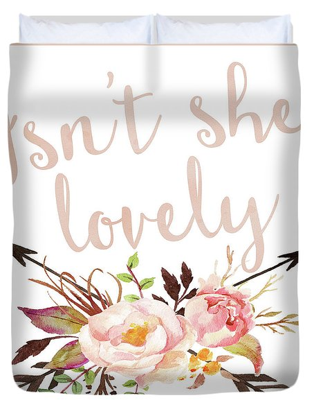 Isn't She Lovely Boho Arrow Watercolor Blush Decor Print Duvet Cover