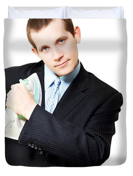 Isolated Business Person Ironing Suit Jacket Duvet Cover