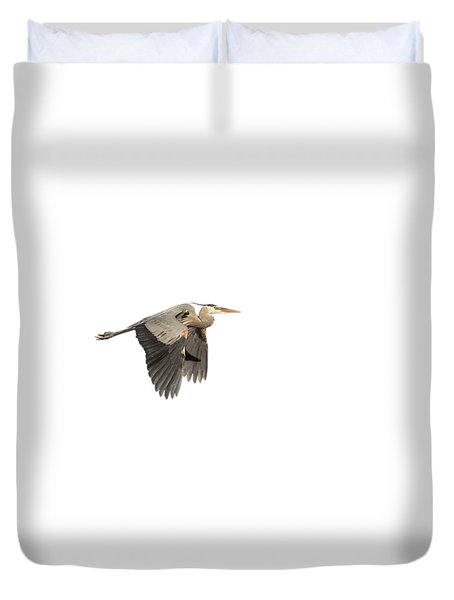 Isolated Great Blue Heron 2015-5 Duvet Cover by Thomas Young