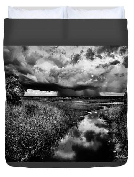 Isolated Shower - Bw Duvet Cover