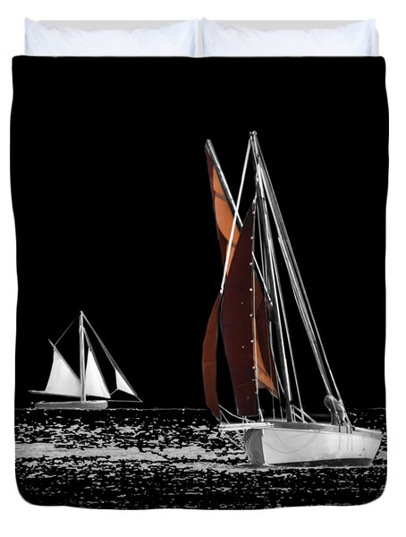 Isolated Yacht Carrick Roads On A Transparent Background Duvet Cover