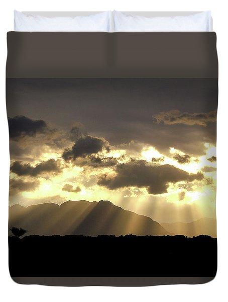 Duvet Cover featuring the photograph Israeli Desert Sunrise At Timna by Yoel Koskas