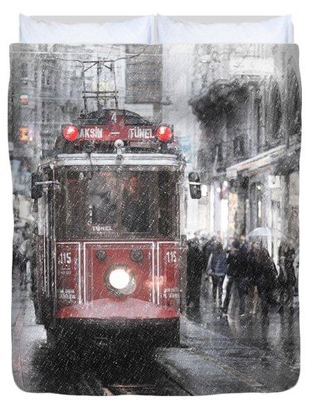 Istambool Historic Tram Duvet Cover