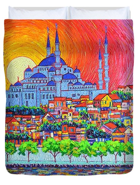 Istanbul Blue Mosque Sunset Modern Impressionist Palette Knife Oil Painting By Ana Maria Edulescu    Duvet Cover