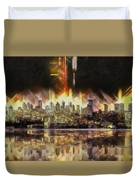 Duvet Cover featuring the painting Istanbul In My Mind by Kai Saarto