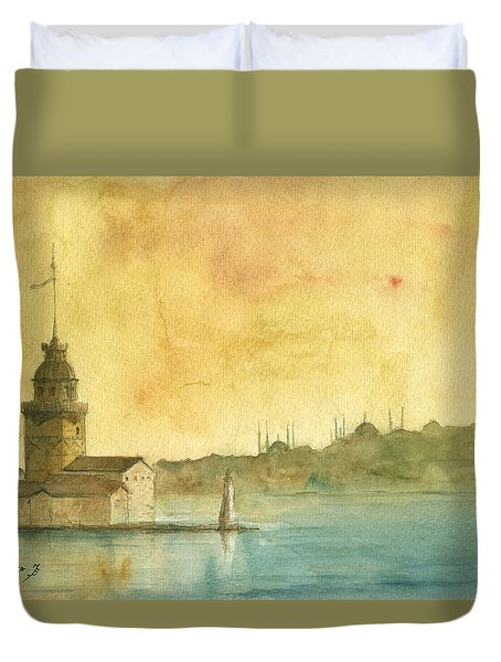 Istanbul Maiden Tower Duvet Cover