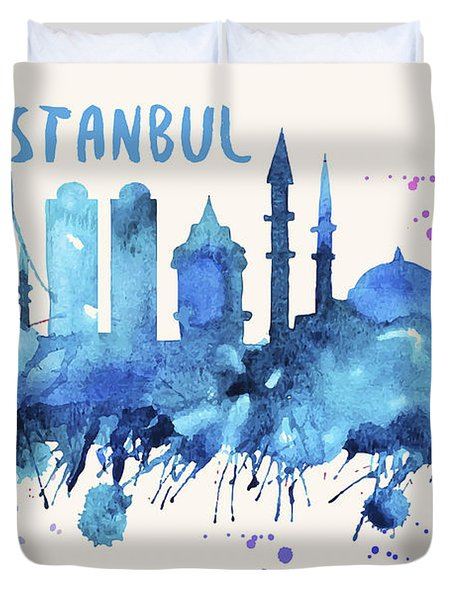 Istanbul Skyline Watercolor Poster - Cityscape Painting Artwork Duvet Cover