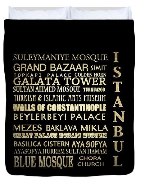 Istanbul Turkey Famous Landmarks Duvet Cover