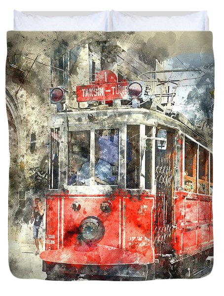 Istanbul Turkey Red Trolley Digital Watercolor On Photograph Duvet Cover