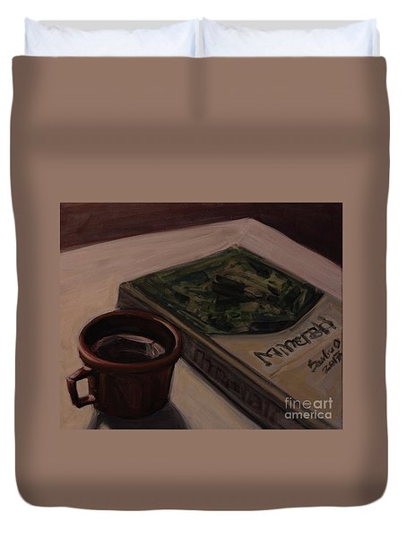 Duvet Cover featuring the painting It Is Coffee Time by Olimpia - Hinamatsuri Barbu