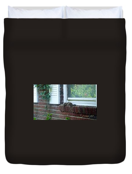 Duvet Cover featuring the photograph It Is Cool Here In The Shade by Denise Fulmer