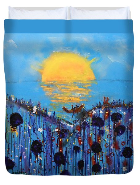 Lover's Sunset Flower Garden Duvet Cover