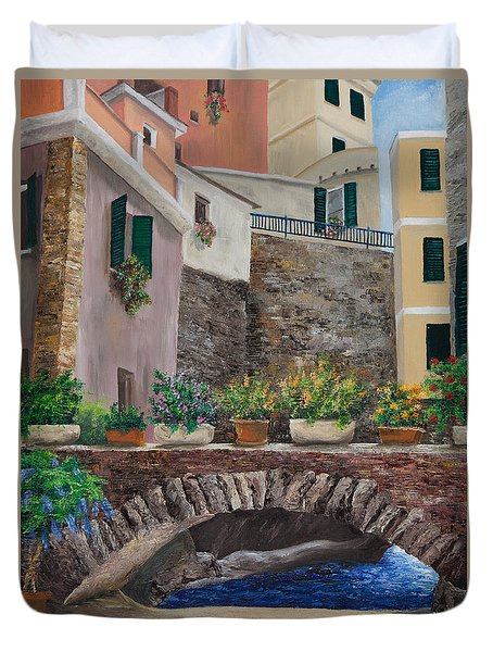 Italian Arched Bridge With Flower Pots Duvet Cover by Charlotte Blanchard