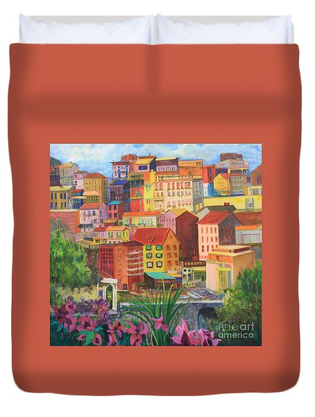 Duvet Cover featuring the painting Italian City by Anne Dentler