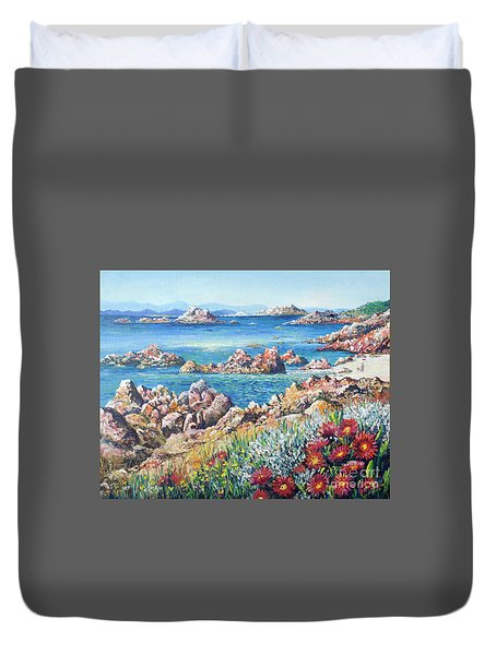 Duvet Cover featuring the painting Italian Coastline by Lou Ann Bagnall