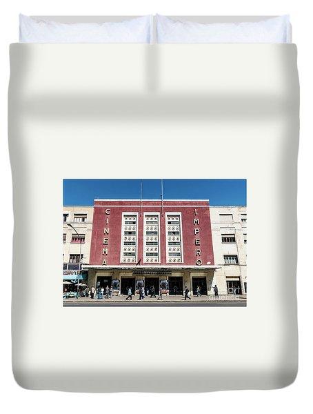 Italian Colonial Art Deco Old Cinema Building In Asmara Eritrea Duvet Cover