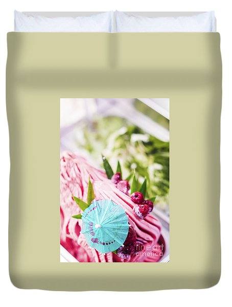 Italian Gelato Raspberry Ice Cream With Blue Umbrella Duvet Cover