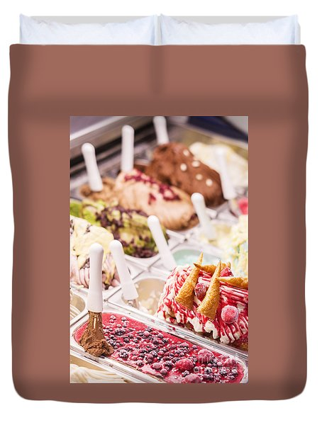 Italian Gelatto Ice Cream Selection Display Duvet Cover
