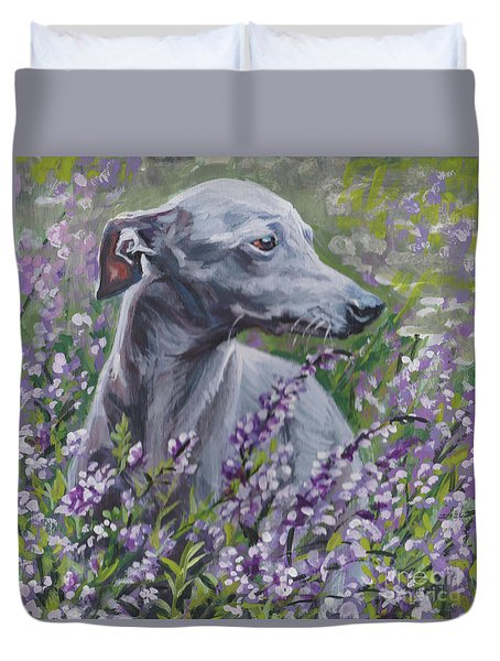 Duvet Cover featuring the painting  Italian Greyhound In Flowers by Lee Ann Shepard