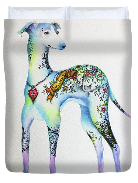 Duvet Cover featuring the mixed media Italian Greyhound Tattoo Dog by Patricia Lintner