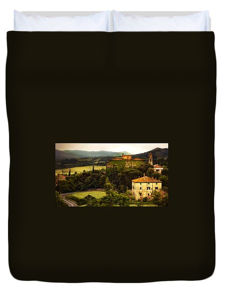 Italian Castle And Landscape Duvet Cover by Marilyn Hunt