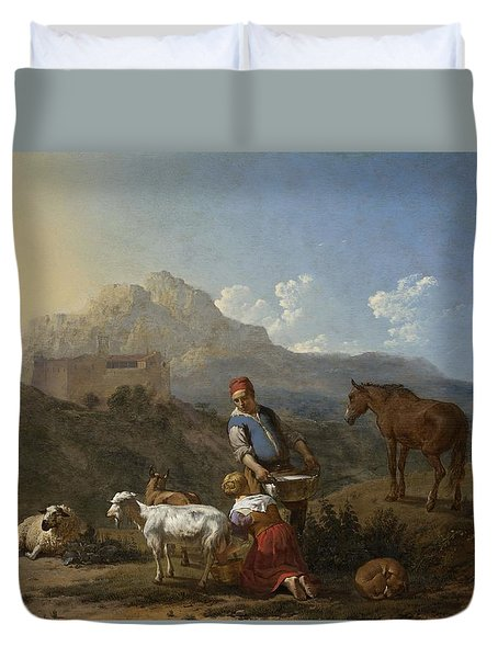 Italian Landscape With Girl Milking A Goat Duvet Cover by Karel Dujardin