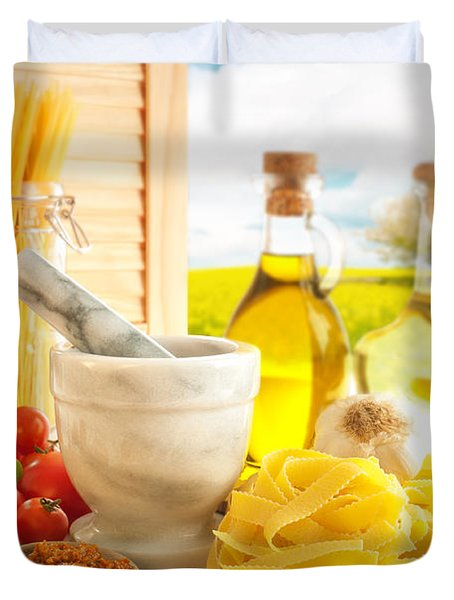 Italian Pasta In Country Kitchen Duvet Cover by Amanda Elwell