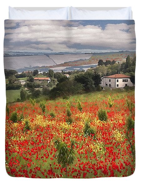 Italian Poppy Field Duvet Cover