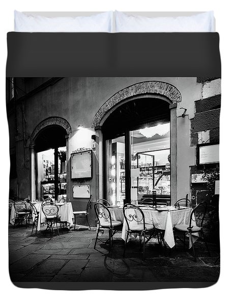Italian Restaurant In Lucca, Italy Duvet Cover