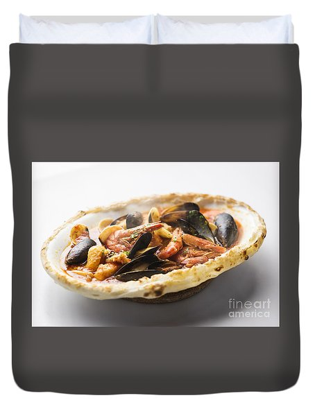 Italian Seafood Stew Baked In Bread Loaf Duvet Cover