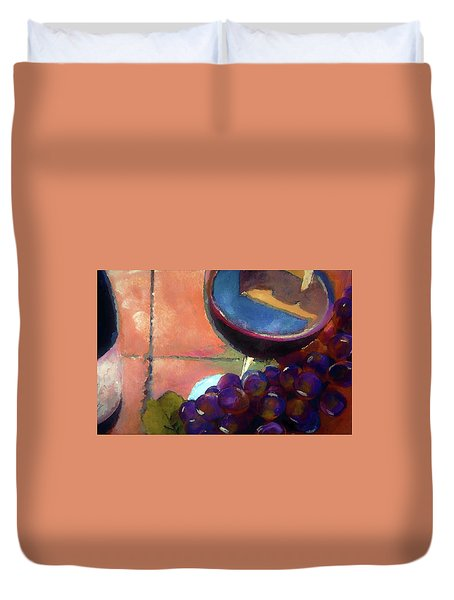 Italian Tile And Fine Wine Duvet Cover