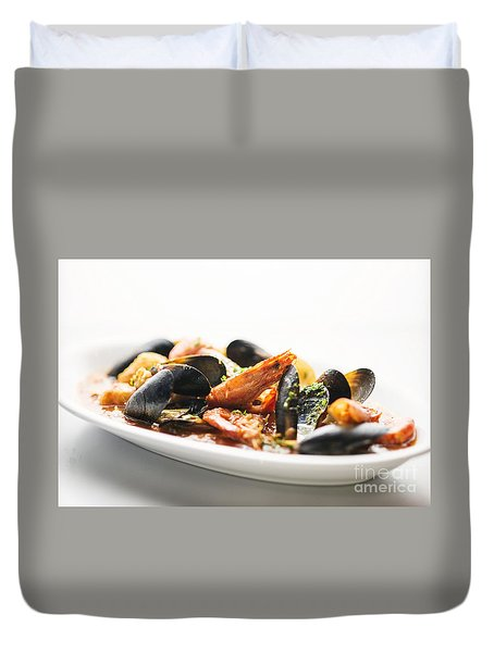 Italian Traditional Seafood Stew  Duvet Cover