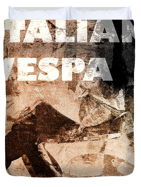 Italian Vespa Duvet Cover
