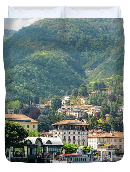 Italian Village On Lake Como Duvet Cover