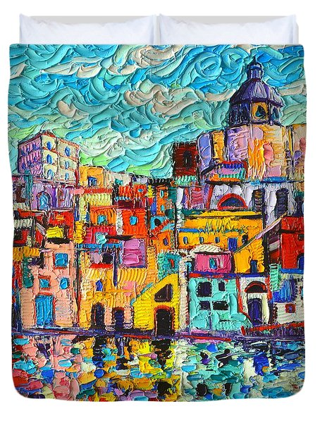 Italy Procida Island Marina Corricella Naples Bay Palette Knife Oil Painting By Ana Maria Edulescu Duvet Cover by Ana Maria Edulescu