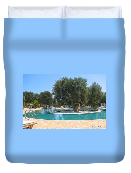 Italy Resort- Olive Tree In Pool Duvet Cover