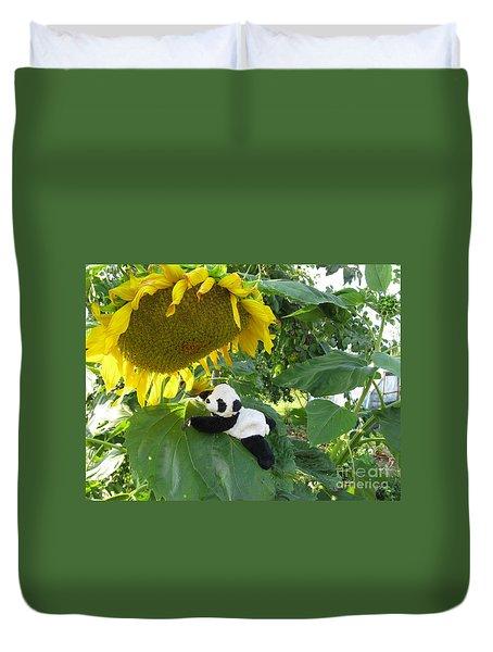 Duvet Cover featuring the photograph It's A Big Sunflower by Ausra Huntington nee Paulauskaite