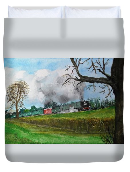 It's All Uphill To Scotland Duvet Cover