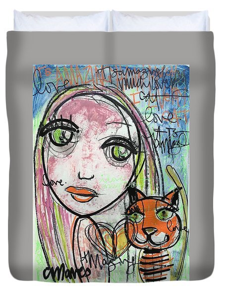 It's Amazing How Much I Love My Cat Duvet Cover by Laurie Maves ART