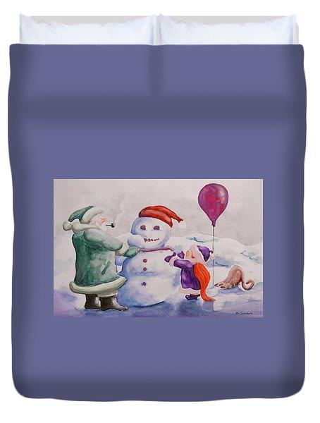 It's Cold Grandpa Duvet Cover by Geni Gorani