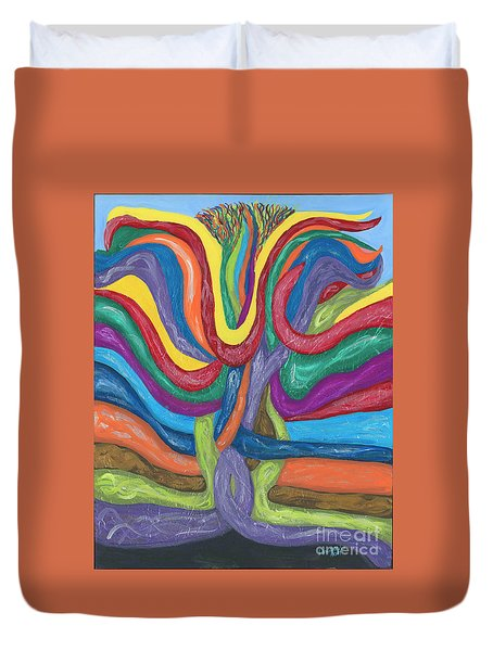 Duvet Cover featuring the painting Its Complicated by Ania M Milo
